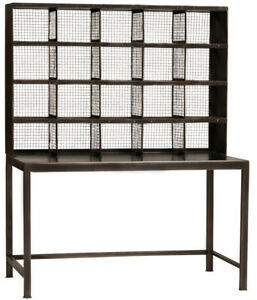 52 l Industrial Style Wire Mesh Cubbies On Top Gunmetal Steel Base Desk