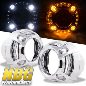 White Amber White Led Angel Eyes Halo Drl Front Driving Lights Lamp Jdm Euro