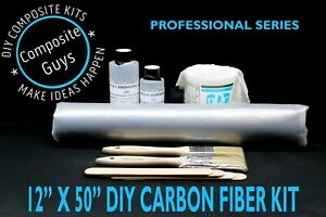 Real Carbon Fiber Fabric 12 X 50 Skinning Laminating Starter Kit Plain Weave