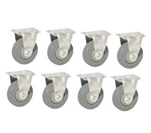New 3 Medium Pu Gray Rigid Casters 8 Pack