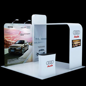 10ft Tension Fabric Pop Up Stand Trade Show Display System With Tv Mount Counter