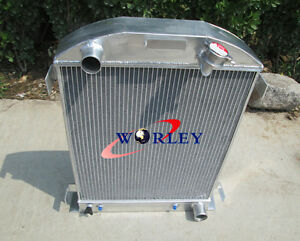For 1932 Ford Hi boy Grill Shells Chevy Engine 3 Row All Aluminum Radiator New