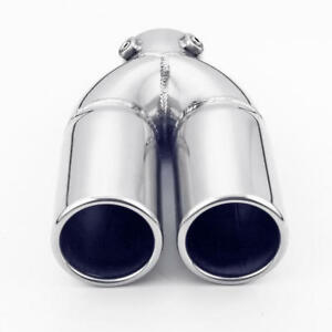 Bolt On Dual 60mm Round Outlet 5 Inch Wide Stainless Steel Exhaust Tip Tailpipe