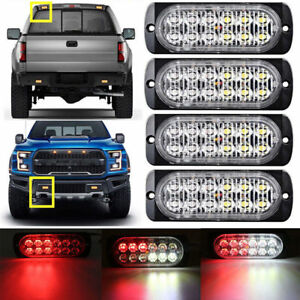 4x Red White 12 Led Strobe Light Bar Truck Beacon Emergency Warning Flash Lamp