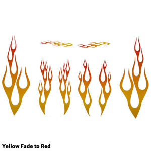 Full Color Flame Decal Kit Golf Cart Atv Rc Truck Car Motorcycle Helmet Sm