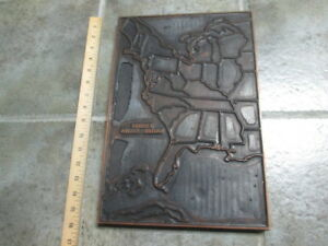 Antique United States Of America Map Copper Wood Letterpress Print Block
