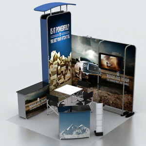 10ft Portable Fabric Trade Show Display Booth Sets With Tv Stand Counter Lights