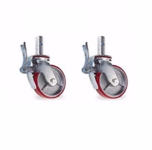 Set Of 2 Albion Scaffold Casters With Red Poly Wheels With Hitch Pin Hole