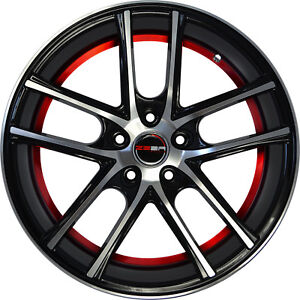 4 Gwg Wheels 18 Inch Black Red Zero Rims Fits Acura Integra Type R 2000 2001