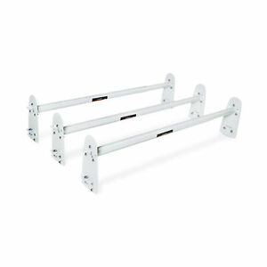 Adjustable 3 Bar Van Roof Ladder Rack Heavy Duty Steel White For Car Top Carrier