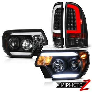 12 15 Toyota Tacoma Matte Black Rear Headlights Cyclop Optic Neon Tube Brightest