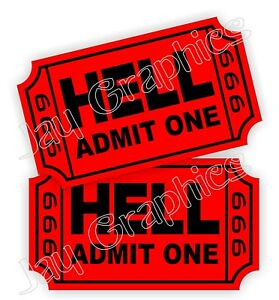 Ticket To Hell Hard Hat Stickers Funny Helmet Decals 666 Toolbox Motorcycle