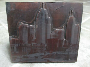 City Of Detroit Skyline Antique Letterpress Block 1930 s 1940 s Campus Martius