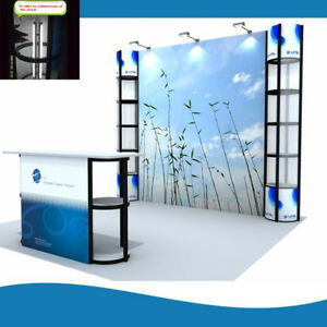 10ft Portable Trade Show Display Pop Up Booth With Lights And Custom Graphic
