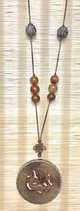 Chinese Brown Jade Dragon Pendants On Cord With Brown Jade Beads