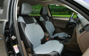 2 Front Car Seat Covers Pu Leather Compatible To Honda 15304 Black Gray