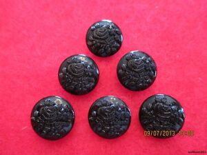 6 1920 1940 Czech Black Glass Small Glossy Floral Buttons 498 12 66mm