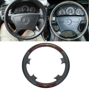 Tan Leather Wood Steering Wheel Cover Mercedes 91 98 W140 S Class 93 95 W124 E