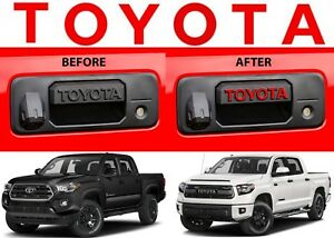 Gloss Red Toyota Vinyl Decal Letters For Tacoma Tundra Tailgate Handle New Usa