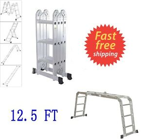 Folding 12 5 Ft Aluminum Multi Purpose Ladder Telescoping Telescopic Extension