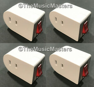 4x Single Outlet Ac Wall Plug On off Lighted Power Switch Electrical Adapter