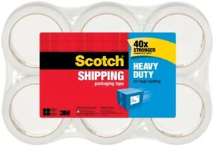 Scotch Heavy Duty Shipping Packing Tape Pack Of 6 Rolls Stronger Clear Backing