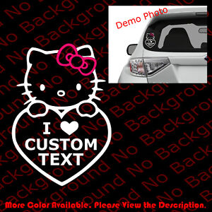 Custom Text Hello Kitty Love Car Window Laptop Vinyl Die Cut Decal Sticker Hk006