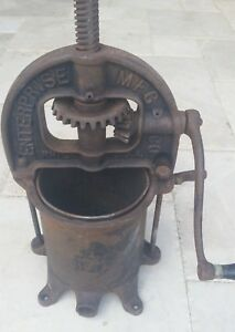 Antique Cast Iron Enterprise 4 Quart Sausage Press Stuffer No 25
