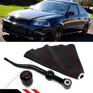 For 1988 00 Honda Civic Dual Short Shifter Blk Type R Shift Knob Leather Boot