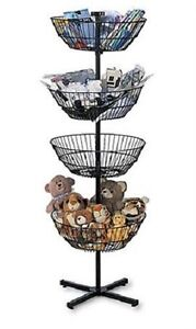 4 Basket Display Wire Floor Tier Spinner Rack Dump Bin Retail Merchandising 63