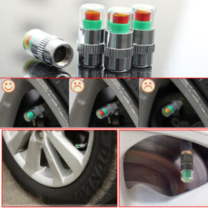 4pcs Auto Car Tire Monitor Valve Dust Cap Pressure Indicator Sensor Eye Alert