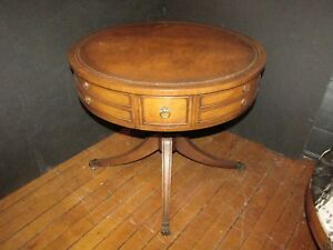 Vintage Single Drawer Duncan Phyfe Leather Top Drum Table W Brass Paws 103mp