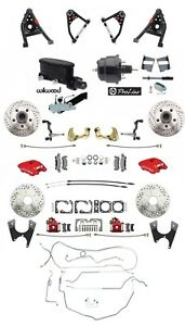 1967 69 Camaro Red Wilwood Front Calipers Control Arms Line Kit Black Booster