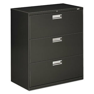 Hon 600 Series Three drawer Lateral File 36w X 19 1 4d Charcoal 683ls