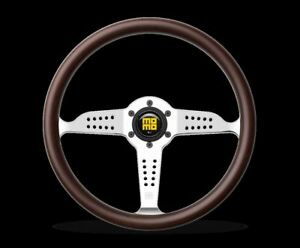 Momo Super Prix 350mm Heritage Racing Steering Wheel Wood Polished Silver Spoke
