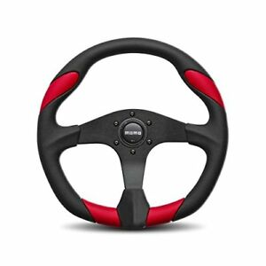Momo Quark 350mm Tuning Racing Steering Wheel Red Poly Urethane