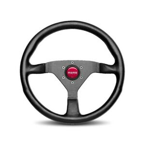 Momo Monte Carlo 320mm Tuning Racing Steering Wheel Black Leather Red Stitch