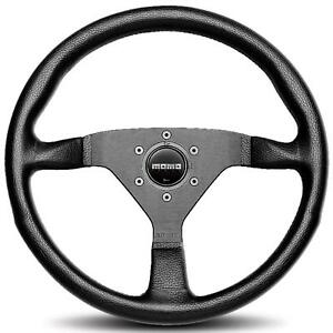Momo Monte Carlo 320mm Tuning Racing Steering Wheel Black Leather Black Stitch