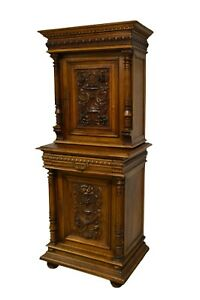 Antique 1800 S Carved Walnut 2 Pc Pantry Cabinet Cupboard
