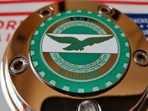 Zenith Of Califonia Wire Wheel 2 25 Metal Chip Emblems Turquoise seafoam chrome