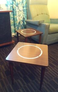 Mid Century Modern End Table Matching Pair Vintage W Inset Mosaic Tile Ring Tops
