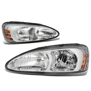 Fit 04 08 Pontiac Grand Prix Pair Chrome Housing Amber Side Headlight lamps Set