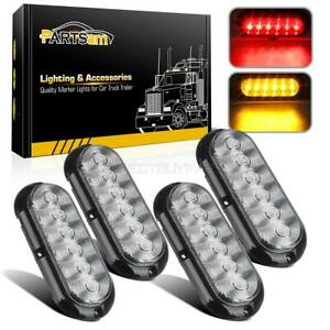 4pc Red yellow 6led Clear Lens 6 Oval Stop Turn Signal Tail Brake Marker Lights