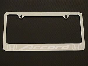 Honda Accord Chrome License Plate Frame Chrome Metal Brushed Aluminum Text