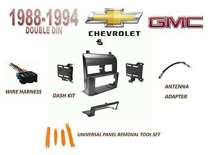 Chevy Gmc Suv Full Size Trucks 1988 1994 Double Din Dash Kit Wire Harness