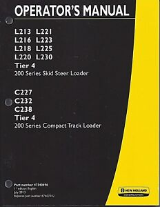 New Holland Skid Steer L200 Series Compact Operator s Manual Tier 4 47540696