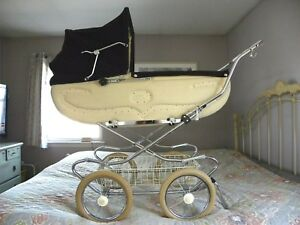 Vintage 1970 S Perego Baby Carriage Pram Cream Brown Excellent Condition