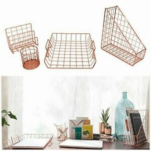 Rose Gold Desk Organizer Office 4 Piece Accessories Set Letter Paper Tray Holder