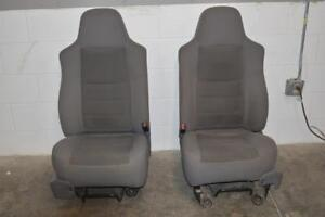 1999 2010 Ford F250 F350 Front Driver Passenger Side Seats Grey Cloth 05
