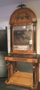 Royal Antique French Louis Empire Mirror Console Table Marble Ahornwurzel Veneer